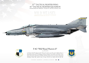 Color Litho F-4G Wild Weasel 52nd TFW / 81st TFS Spangdahlem 1990s