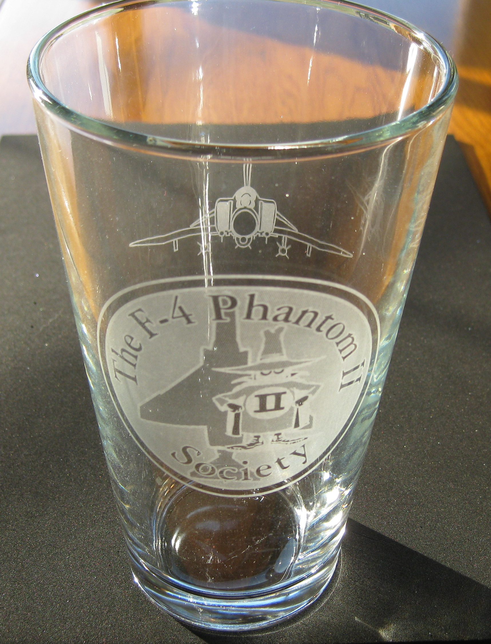 F-4 Society 16 Ounce Heavy Etched Printed Beverage Glass!